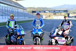 FIM MotoGP 2020 World Champions: Enea Bastianini, Italtrans Racing Team, Joan Mir, Team Suzuki MotoGP, Albert Arenas, Aspar Team