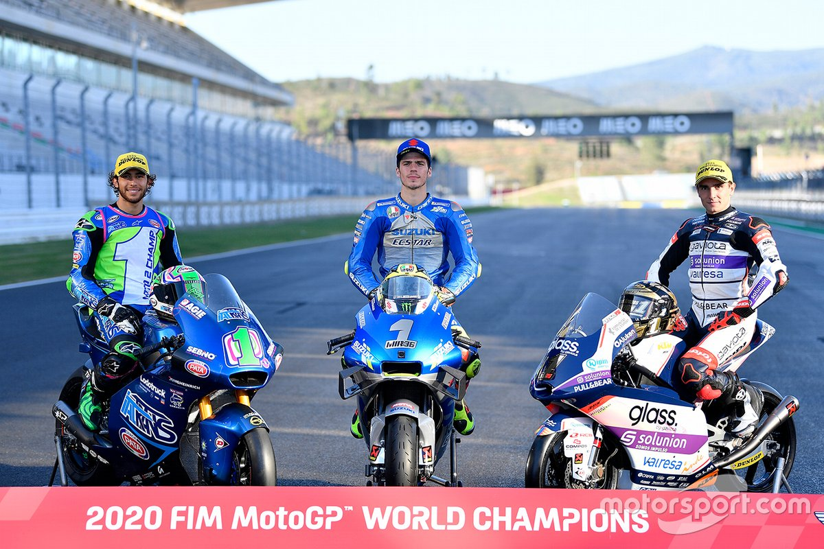 Campeones 2020 FIM MotoGP: Enea Bastianini, Italtrans Racing Team, Joan Mir, Team Suzuki MotoGP, Albert Arenas, Aspar Team