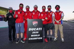 Ducati Team Constructors' World Champion group photo with Luigi Dall'Igna, General Manager of Ducati Corse, Johann Zarco, Avintia Racing, Andrea Dovizioso, Ducati Team, Danilo Petrucci, Ducati Team, Jack Miller, Pramac Racing, Francesco Bagnaia, Pramac Racing