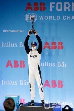 Edoardo Mortara, Venturi Racing, 2nd position, on the podium with his trophy