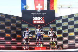 Podium: Luca Bernardi, CM Racing, Dominique Aegerter, Ten Kate Racing Yamaha, Philipp Ottl, Kawasaki Puccetti Racing
