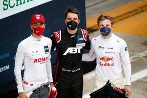 Top 3 after Qualifying 2, Pole sitter Kelvin van der Linde, Abt Sportsline, Sheldon van der Linde, ROWE Racing, Liam Lawson, AF Corse