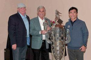 Al Unser Jr, Al Unser, Takuma Sato, Baby BorgWarner trophy