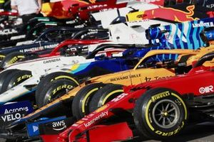 The cars in Parc Ferme after Sprint Qualifying