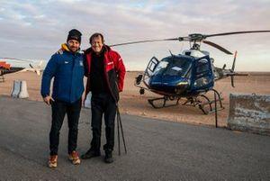 David Castera, director del Dakar; Hubert Auriol, tres veces ganador del Dakar en moto