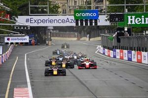Juri Vips, Hitech Grand Prix, Liam Lawson, Hitech Grand Prix and Oscar Piastri, Prema Racing