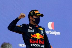 Sergio Perez, Red Bull Racing, 1st position, on the podium