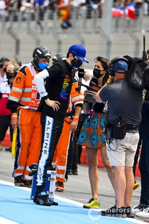 Esteban Ocon, Alpine F1, is interviewed on the grid