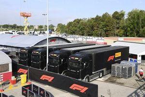 Pirelli transporters in the paddock