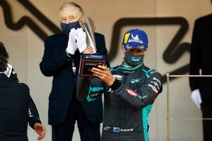 Mitch Evans, Jaguar Racing, celebrates with his trophy on the podium