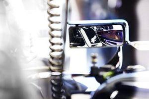 Lewis Hamilton, Mercedes, viewed in his rear view mirror
