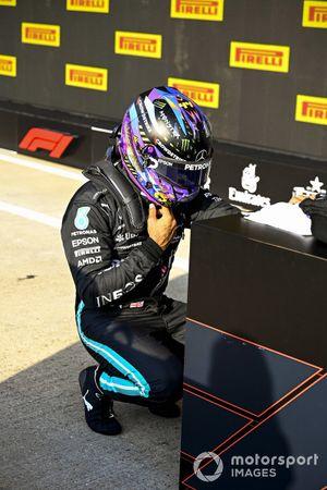 Lewis Hamilton, Mercedes, in Parc Ferme after securing pole position