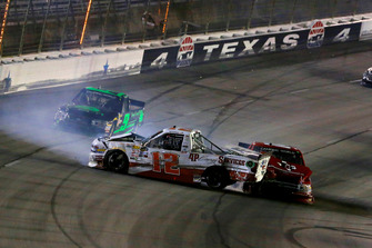 Tyler Young, Young's Motorsports, Chevrolet Silverado Youngs Building Systems and Cory Roper, Roper Racing, Ford F-150 Preferred Industrial Contractors Inc crash