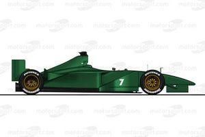 Ilustración del Jaguar R1 (2000) sin patrocinadores