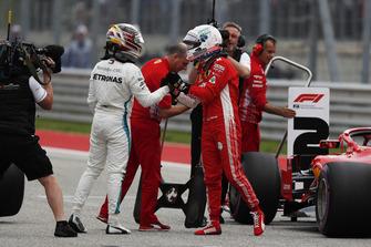 Pole sitter Lewis Hamilton, Mercedes AMG F1 celebrates in Parc Ferme with Sebastian Vettel, Ferrari
