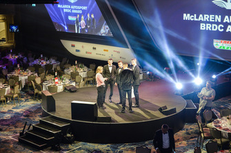 McLaren Autosport BRDC Award nominees Jamie Caroline, Tom Gamble, Max Fewtrell and Kiern Jewiss on stage for rehearsal