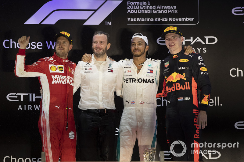 Sebastian Vettel, Ferrari, Bradley Lord, Head of Mercedes-Benz Motorsport Communications, Lewis Hamilton, Mercedes AMG F1 and Max Verstappen, Red Bull Racing celebrate on the podium