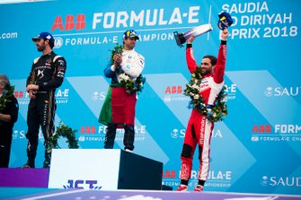 Jérôme d'Ambrosio, Mahindra Racing celebrates third position on the podium as winner Antonio Felix da Costa, BMW I Andretti Motorsports looks on
