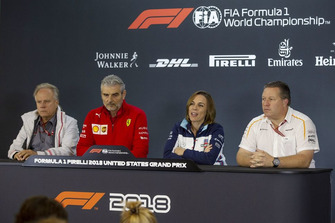 (L to R): Gene Haas, Founder and Chairman, Haas F1 Team, Maurizio Arrivabene, Ferrari Team Principal, Claire Williams, Williams Deputy Team Principal and Zak Brown, McLaren Racing CEO in Press Conference