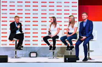 Sarah Moore, Esmee Hawkley and David Coulthard talk about W Series on stage with Alan Hyde