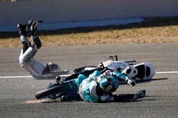 Chute de Fabio Quartararo, Leopard Racing et Jorge Martin, Aspar Team Mahindra