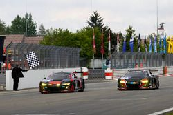 #1 Audi Sport Team WRT, Audi R8 LMS: Laurens Vanthoor, Christopher Mies, Nico Müller, Pierre Kaffer and #2 Audi Sport Team WRT, Audi R8 LMS: Stuart Leonard, Robin Frijns, Edward Sandström, Frederic Vervisch