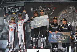 Podium : les vainqueurs #58 Garage 59 McLaren 650S GT3: Rob Bell, Alvaro Parente, le deuxièmes, #86 HTP Motorsport Mercedes AMG GT3: Jules Szymkoviak, Bernd Schneider, les troisièmes, #28 Belgian Audi Club Team WRT Audi R8 LMS Ultra: Will Stevens, René Rast