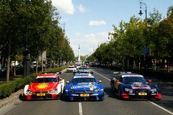 The cars with Augusto Farfus, BMW Team MTEK, BMW M4 DTM, Paul Di Resta, Mercedes-AMG Team HWA, Merce