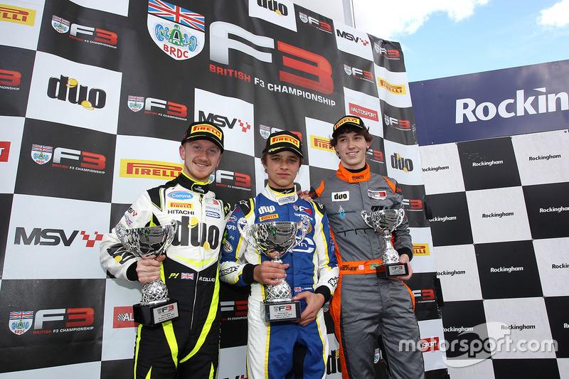 Подиум: Ландо Норрис, Carlin (победитель), Рики Коллард, Carlin (второе место) и Матеус Лейст, Double R Racing (третье место)