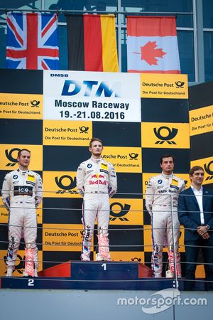 Podium: second place Tom Blomqvist, BMW Team RBM, BMW M4 DTM; Race winner Marco Wittmann, BMW Team RMG, BMW M4 DTM; third place Bruno Spengler, BMW Team MTEK, BMW M4 DTM