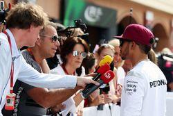 Lewis Hamilton, Mercedes AMG F1 with Kai Ebel, RTL TV Presenter