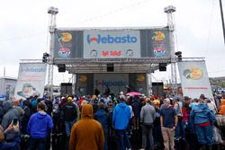 Dale Earnhardt Jr., Hendrick Motorsports Chevrolet does a Q&A with fans during a weather delay