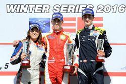 Podio: il vincitore Leonardo Pulcini, Campos Racing, seconda Tatiana Calderon, Teo Martin Motorsport