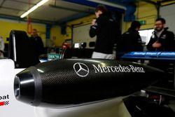 Mercedes-Benz airbox at the car of Ben Barnicoat, HitechGP, Dallara F312 - Mercedes-Benz