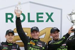 Winners Scott Sharp, Ed Brown, Pipo Derani, ESM Racing celebrate