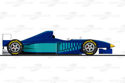 La Sauber C17 pilotée par Michael Schumacher en essais en 1997<br/> Reproduction interdite, exclusiv