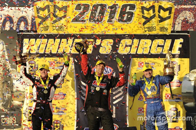 Ganador Pro Stock Greg Anderson, Ganador Funny Car Ron Capps, Ganador Top Fuel Steve Torrence