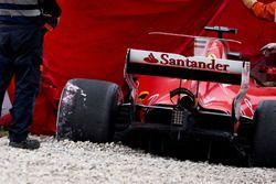 The crashed Ferrari SF70H of Kimi Raikkonen, Ferrari