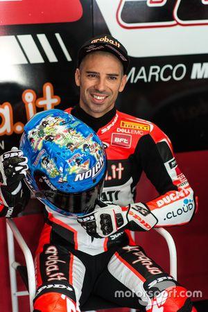 Marco Melandri, Ducati team, con il casco speciale per Imola e Misano