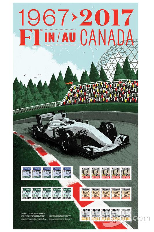 Sir Jackie Stewart, Gilles Villeneuve, Ayrton Senna, Michael Schumacher, Lewis Hamilton stamps