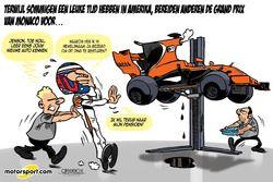 Cartoon van Cirebox - Jenson Button maakt kennis met de McLaren-Honda MCL32