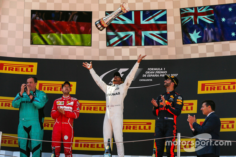 2017: 1. Lewis Hamilton, 2. Sebastian Vettel, 3. Daniel Ricciardo