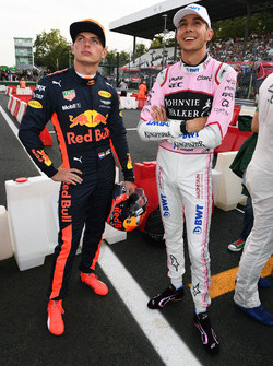 Max Verstappen, Red Bull Racing and Esteban Ocon, Sahara Force India F1