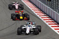 Felipe Massa, Williams FW40; Daniel Ricciardo, Red Bull Racing RB13; Sergio Perez, Sahara Force Indi