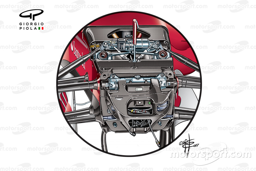 La suspension avant de la Ferrari SF70H de 2017