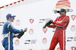 Podium: second place Simon Pagenaud, Team Penske Chevrolet, race winner Sébastien Bourdais, Dale Coy