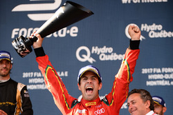 Lucas di Grassi, ABT Schaeffler Audi Sport, celebrates on the podium
