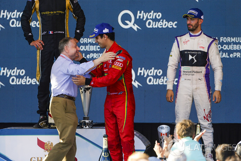 Lucas di Grassi, ABT Schaeffler Audi Sport, es felicitado por Jean Todt, presidente de FIA