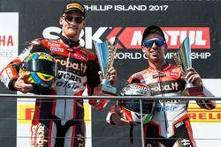 Podium : deuxième place pour Chaz Davies, Ducati Team, devant Marco Melandri, Ducati Team