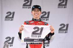 Brandon Jones, Richard Childress Racing Chevrolet, poses with the 21 Means 21 Pole Award